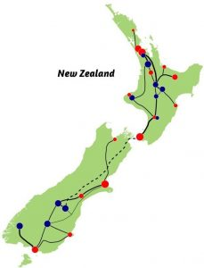 Road Map of New Zealand